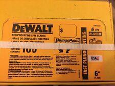 "DeWalt 6"" 6 TPI Taper Back Sawzall Blade Blade - Wood Cut 100 Pack New In Box"