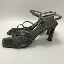 Nine West Shoes UK 8.5 US 10 Heels Sandals Dark Silver Strappy Leather 301344