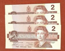 3 1986 Consecutive Serial Number Two Dollar Bank Notes Gem Uncirculated G171
