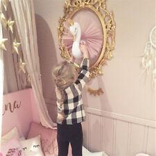 Pink 3D Golden Crown Swan Wall Art Girl Swan Doll Stuffed Toy Wall Hanging Decor