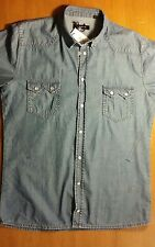 bellissima camicia JUNK DE LUXE, jeans, denim, uomo, L, blu