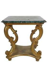 Early 20th Century Italian Rococo Style Carved Giltwood Accent Table Marble Top