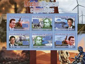 Guinea Wild Animals Stamps 2007 MNH Global Warming Rhinos Schwarzenegger 6v M/S