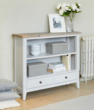 signature solid wood 2 shelf bookcase 2 drawers low storage grey limed oak top