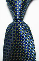 New Classic Checks Blue Black Yellow JACQUARD WOVEN 100% Silk Men's Tie Necktie