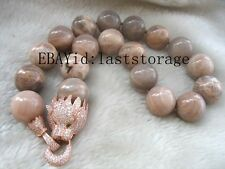 """pink sunstone 20mm & leopard clasp necklace 18"""" nature wholesale beads gift"""
