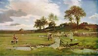 JAMES AUMONIER 1889 Oil Painting SHEEP WASHING Vintage Artwork 1930 Book Print