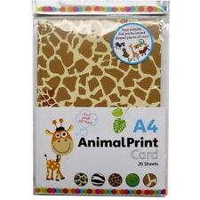 A4 Assorted Animal Print Card - 20 A4 Sheets & 5 Shaped Pieces