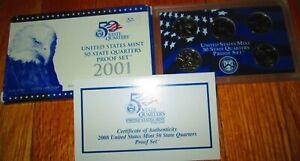 2001 State Proof Quarters U.S. Mint Key date Box COA New York  North Carolina