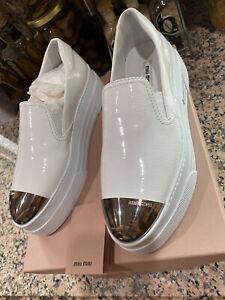 Miu Miu 5S055A Cap-Toe Metallic Platform Slip-On Sneakers Sz. 38 (8 us)