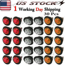 "30X 3/4"" Marker Lights Led Truck Trailer Round Side Bullet Light Amber/Red/White"