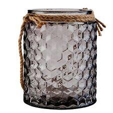 Clayre & Eef großes Windlicht mit Kordel, graues Glas, sehr dekorativ