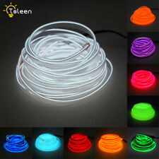 Flat EL Wire LED Neon Light Strip 2m/5m With Power Driver Car Bike Decor White