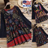 US Women's Long Sleeve Tops Casual Cotton Ethnic Shirt Floral Print Tunic Blouse