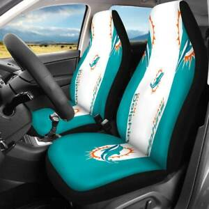 Miami Dolphins Car Seat Cover 2PCS Universal Fit SUV Pickup Seat Protector New