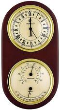 Reloj de pared Perfecto, termómetro, números romanos, Madera, 10in, único