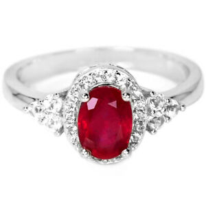 GENUINE AAA BLOOD RED RUBY OVAL & WHITE CZ STERLING 925 SILVER RING SIZE 8.25