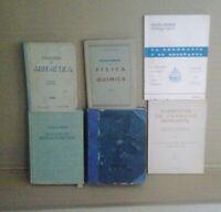 lote de 6 antiguos libros, Física Quimica, Geografía, Derecho, Aritmetica etc