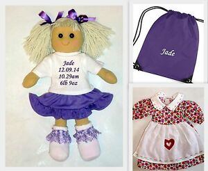 Personalised Rag Doll New Baby Girl 1st Dolly Birth Gift + PURPLE BAG & OUTFIT