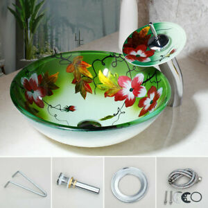 Bathroom Round Tempered Glass Washbasin Chrome Waterfall Faucet Pop-up Drain Set