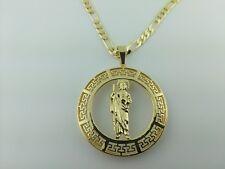 "Saint Jude  Pendant charm St Jude Medallion With Versace Frame 24"" Figaro  chain"