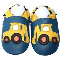 Freeship Littleoneshoes Soft Sole Leather Baby Shoes ExcavatorOceanblue 12-18M