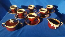 Vtg 6 Sets- Brown Drip Glaze Teacups and Saucers With Sugar Bowl & Creamer ☆EUC