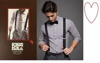 Mens wide black braces bracers heavy duty suspenders gift