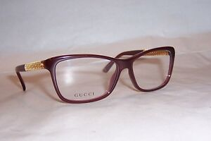 NEW GUCCI EYEGLASSES GG 3695 3JA RED GOLD PLATED 54mm RX SPECIAL AUTHENTIC