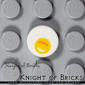 LEGO Minifigure WHITE Fried Egg Yolk Food Restaurant Breakfast