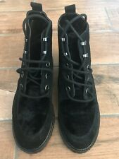 Unworn, black, lace up,  Topshop ankle boots with fur detailing, Uk 7