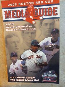 2003 Boston Red Sox MLB Baseball Media GUIDE