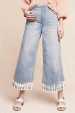 NWT Anthropologie Pilcro Ultra High Waist Cullotte Bleach Hem Cropped Jeans 31