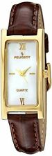 Peugeot Women's 3017BR Analog Japanese Quartz Gold-Tone Leather Strap Watch