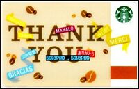 STARBUCKS 2015 THANK YOU MERCI MAHALO GRACIAS BILINGUAL COLLECTIBLE GIFT CARD