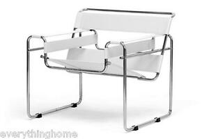 Ivory Off-White Leather Strap and Chromed Bent Steel Tube Frame Lounge Chair