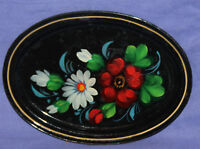 Vintage Russian floral metal tole plate hand painted tray
