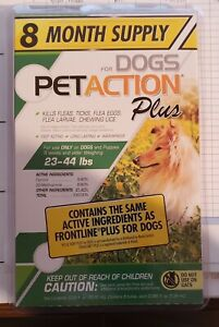 8 Dose Supply PetAction Plus- Flea/Tick Treatments For Medium Dogs (23-44 lbs)