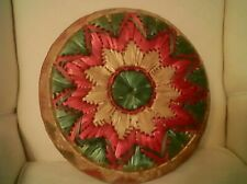 Chinese basket tray pink and green 12x2 ins.