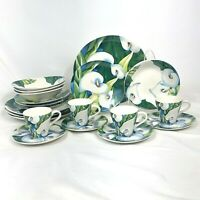 20 PIECE SET SANGO OBSESSION CALLA LILLY DINNERWARE FOUR 5 PC SETTINGS FREE SHIP