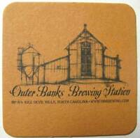 OUTER BANKS BREWING STATION brown Beer COASTER with Brewery, MAT, NORTH CAROLINA