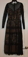 GORGEOUS BLACK LACE DRESS~NUDE LINER~TADASHI SHOJI~SIZE 00~FITS LIKE 0~$508.00!