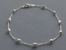 "New Italian Sterling Silver- 9""- Ankle Bracelet w/ Swirly Oval Beads- Italy 925"