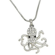 """Octopus Charm Pendant Fashionable Necklace - Sparkling Crystal - 18"""" Chain"""