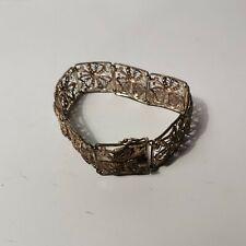 """STERLING SILVER vintage SHAMROCK filigree bracelet. 7 1/2"""""""
