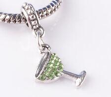 jewelry 2pcs silver cup green CZ big hole Beads European Charm Bracelet A824