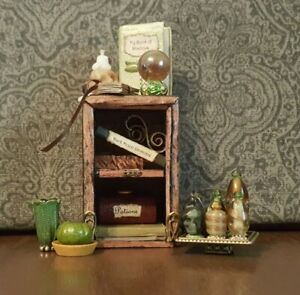 Small Wiccan Bookcase for Haunted Dollhouse this Halloween