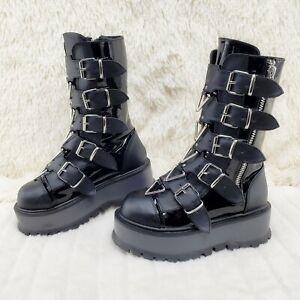 Demonia Slacker 160 Multi Strap Goth Punk Platform Calf Boots IN STOCK NY