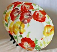 222 Fifth Jolly Poppy Dinner Plates Porcelain Large Floral New