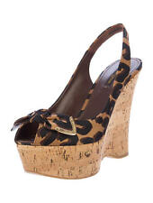 Louis Vuitton Leopard Peep Toe wedges Sandals Shoes BNIB UK 3 EU 36